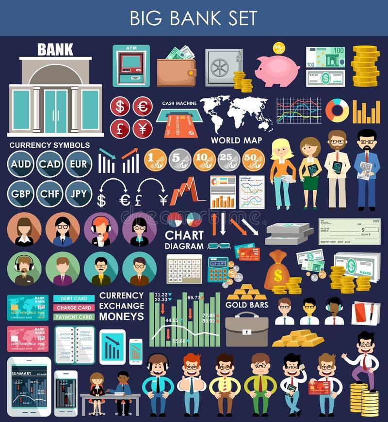 Grand ensemble de banque illustration stock
