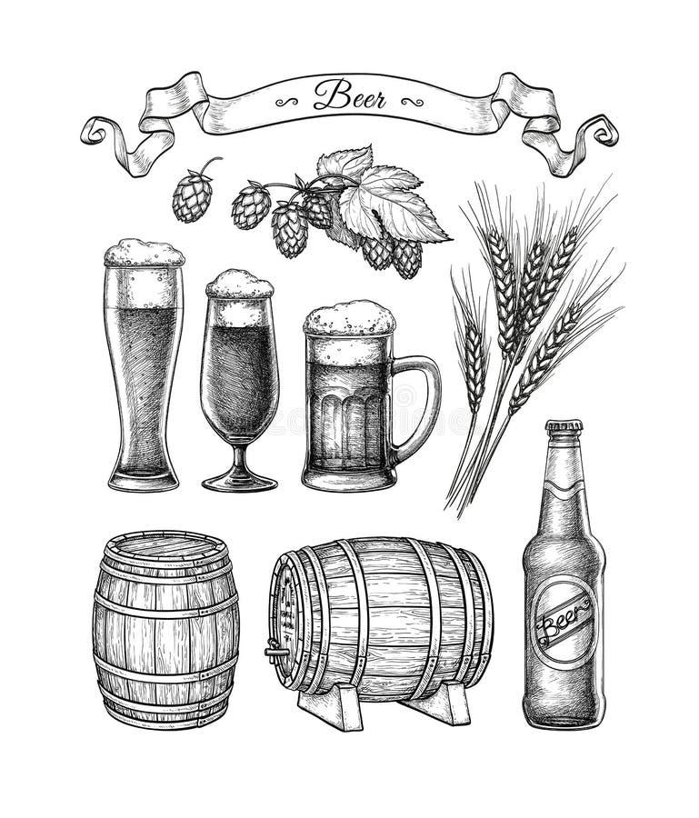 Grand ensemble de bière illustration stock