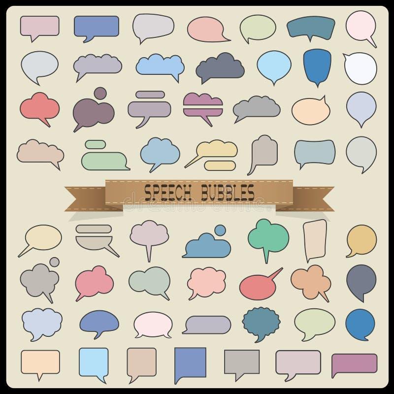 Grand ensemble de bulles de la parole de couleur illustration de vecteur