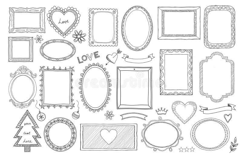 Grand ensemble de cadres d'isolement tirés par la main et de différents éléments : coeurs, bannières, fleurs, marquant avec des l illustration stock