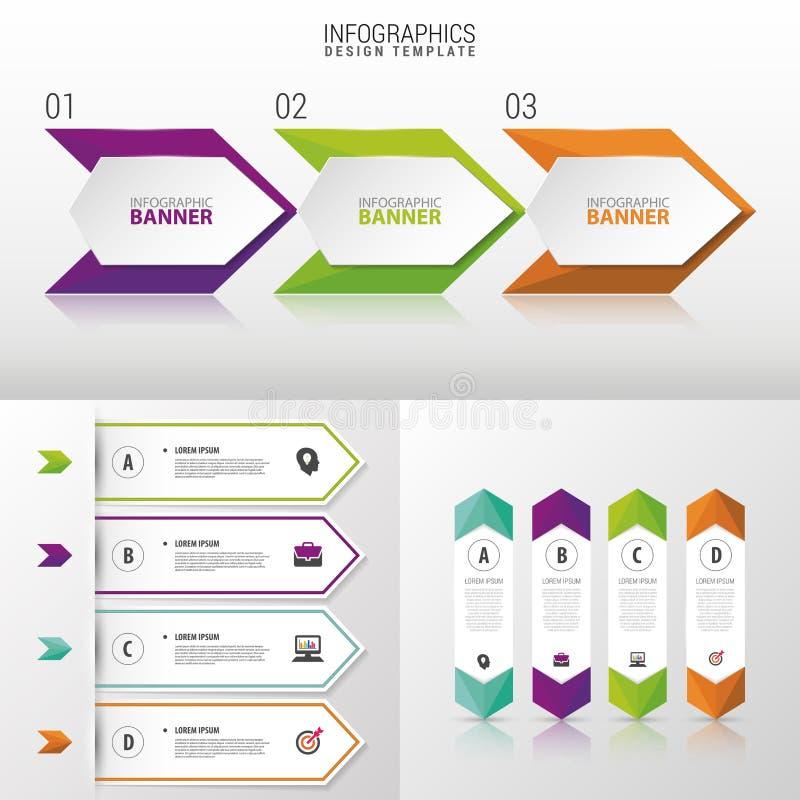 Grand ensemble de calibres de bannière d'Infographic Conception moderne Illustration de vecteur illustration de vecteur