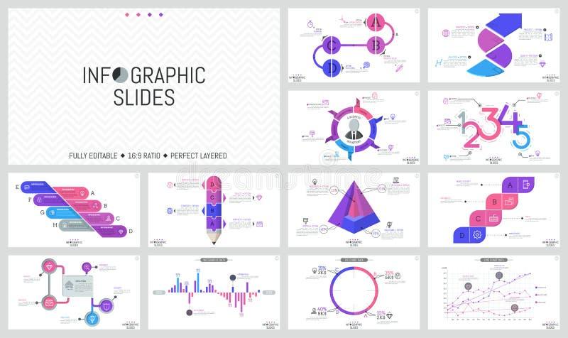 Grand ensemble de calibres infographic minimaux de conception Graphiques, déroulement des opérations et histogrammes, en rond et  illustration libre de droits