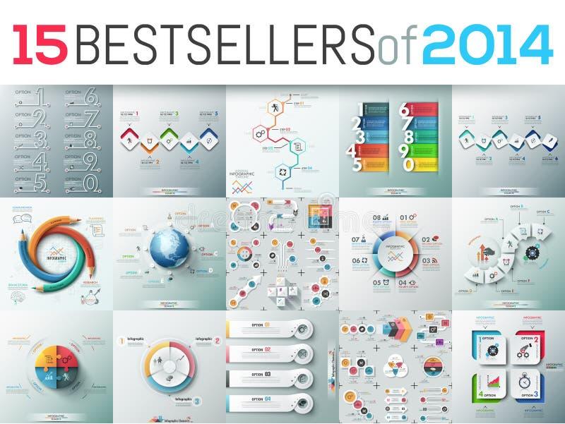 Grand ensemble de 15 calibres infographic modernes de design d'entreprise illustration libre de droits