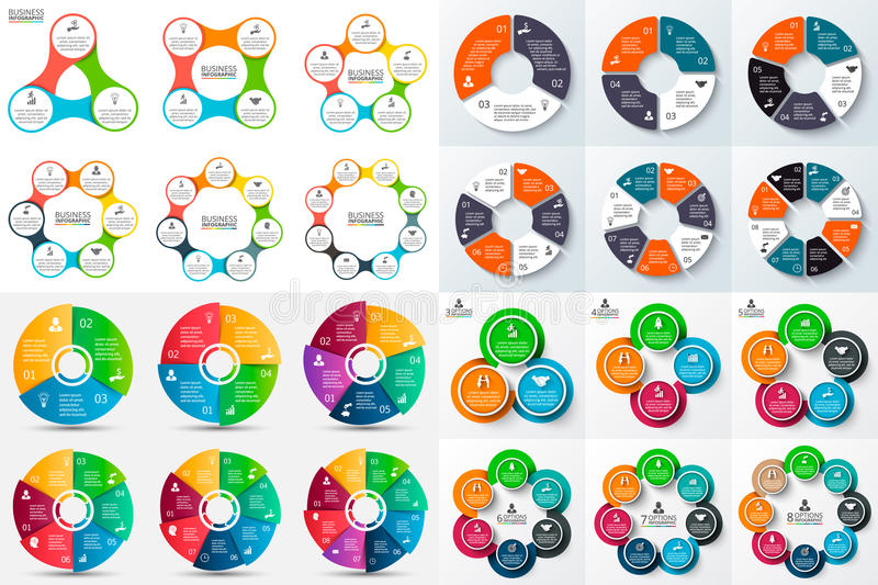 Grand ensemble de cercle de vecteur infographic illustration stock