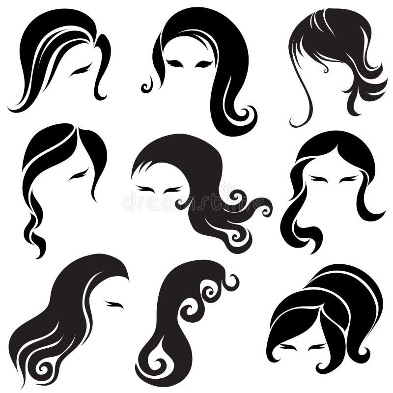 Grand ensemble de cheveu noir dénommant pour le femme illustration libre de droits