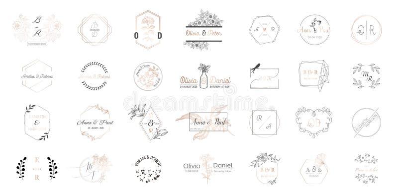 Grand ensemble de collection de logos de monogramme de mariage, de calibres minimalistic et floraux modernes tirés par la main po illustration stock