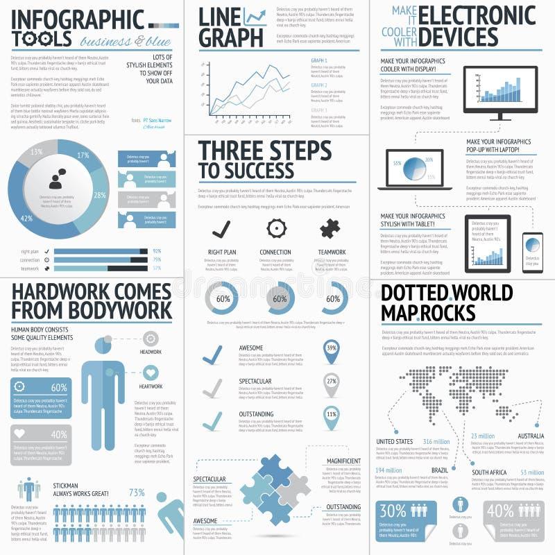 Grand ensemble de colo bleu d'affaires d'éléments infographic illustration stock