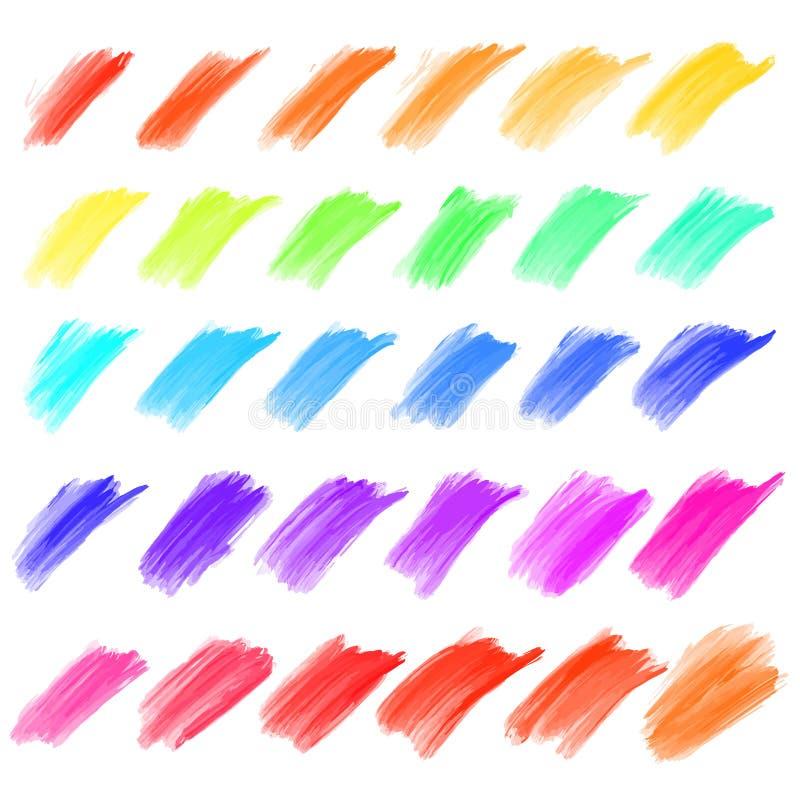 Grand ensemble de courses peintes par huile illustration stock