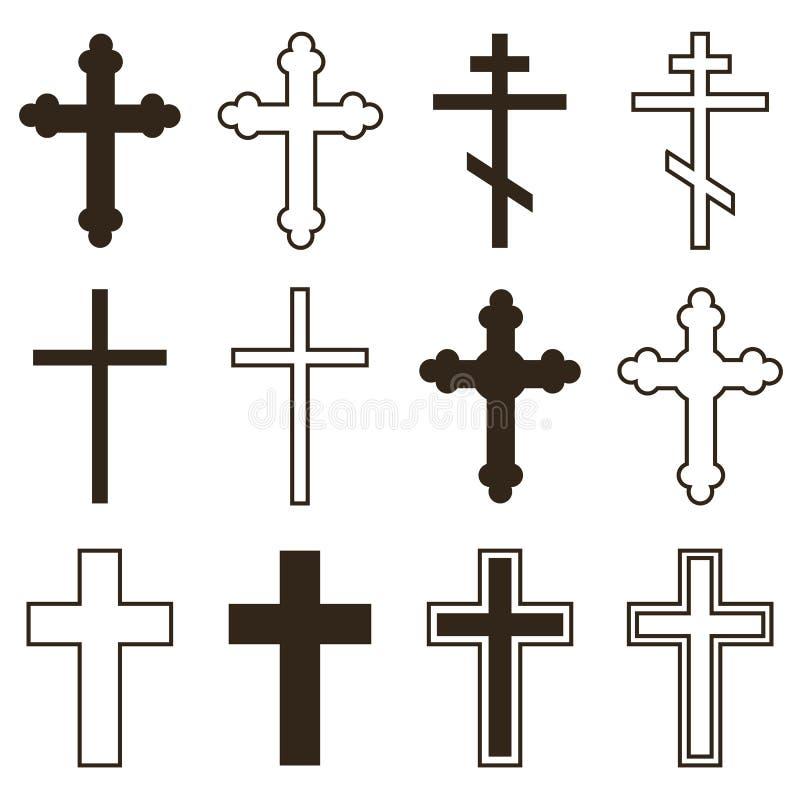 Grand ensemble de croix chrétiennes d'orthodoxie dans différents styles et de formes d'isolement sur le fond blanc illustration stock