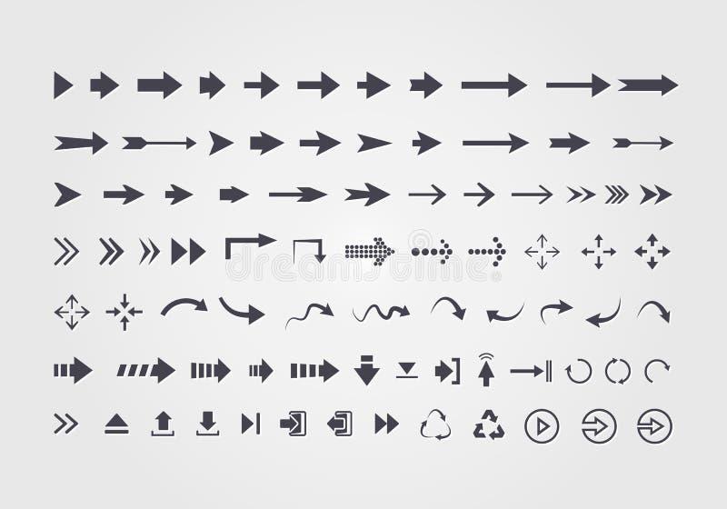Grand ensemble de différentes flèches de vecteur illustration libre de droits