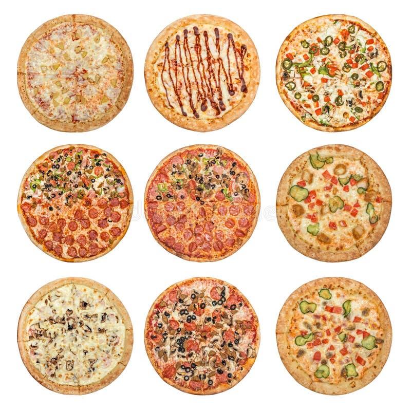 Grand ensemble de différentes pizzas photo stock