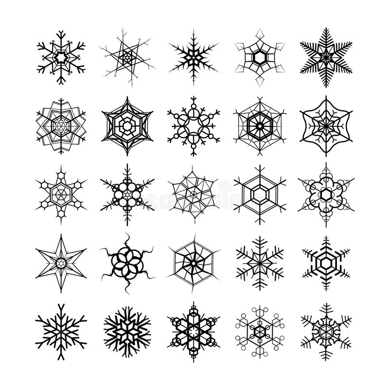 Grand ensemble de différents flocons de neige modernes, silhouettes noires sur le blanc illustration stock