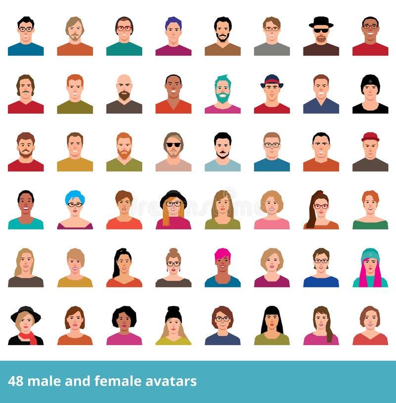 Grand ensemble de divers mâle et femelle d'avatars illustration stock
