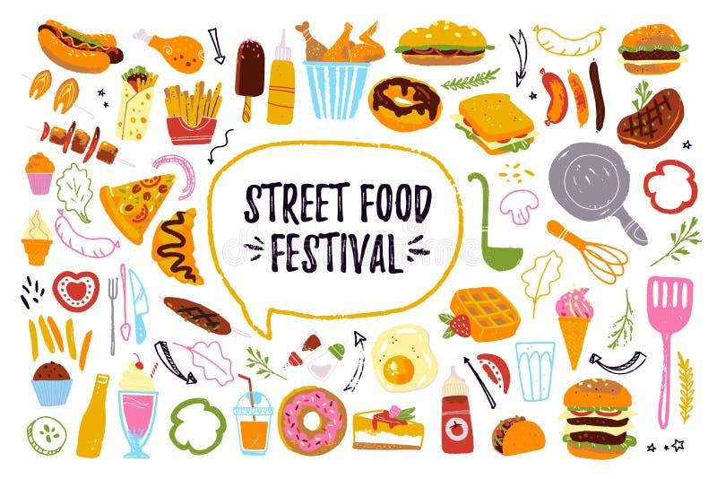 Grand ensemble de festival d'aliments de préparation rapide de vecteur d'isolement sur le fond blanc : hamburger, dessert, pizza, illustration libre de droits