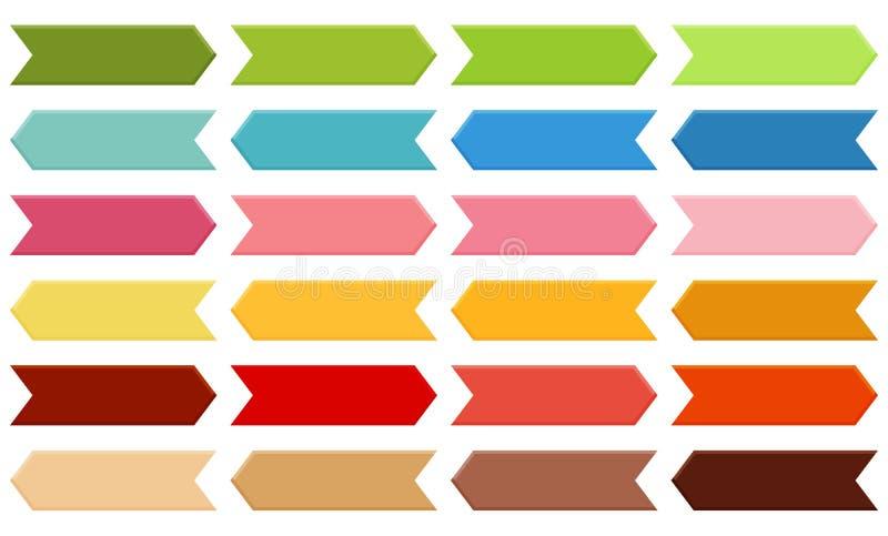 Grand ensemble de flèches aux nuances de vert, bleu, rose, orange, rouge illustration de vecteur
