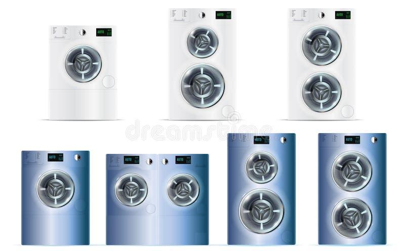 Grand ensemble de Front Load Double White et de Machin de lavage en acier bleu illustration libre de droits