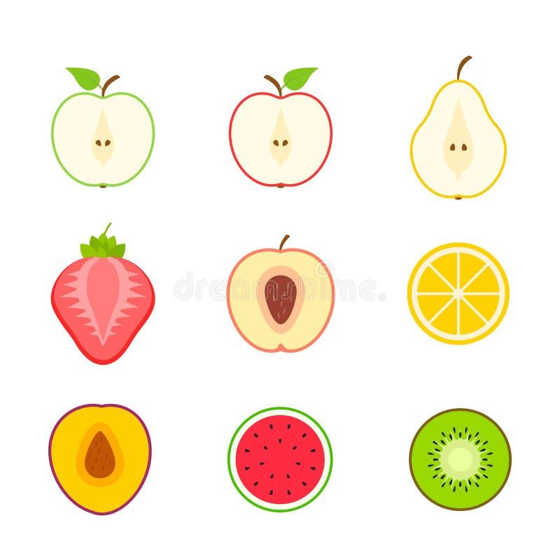 Grand ensemble de fruits et de baies Fruit d'?t? Pomme de fruit, poire, fraise, orange, pêche, prune, banane, pastèque, ananas, illustration libre de droits