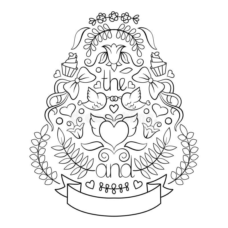 Grand ensemble de graphique de mariage de lauriers, de guirlandes, de flèches, de rubans, de coeurs, de fleurs, d'oiseaux et de l illustration stock