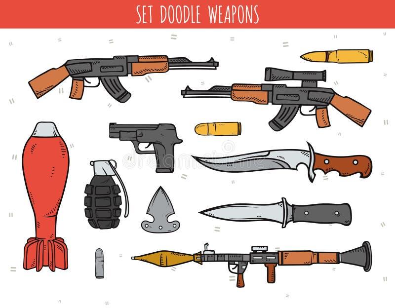 Grand ensemble de griffonnage d'arme, coquilles, bombes de travail manuel illustration stock