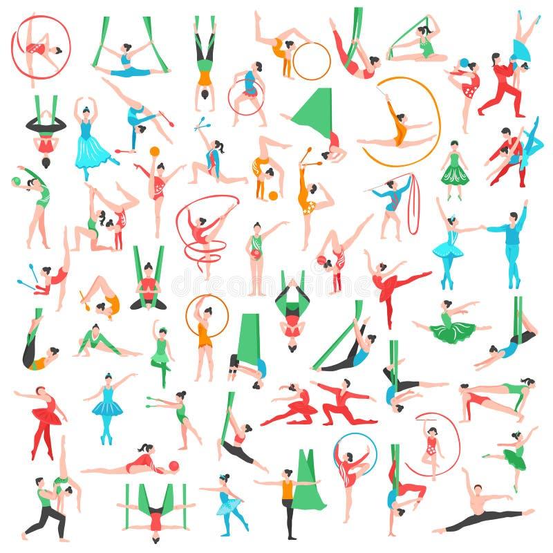 Grand ensemble de gymnastique et de ballet illustration libre de droits