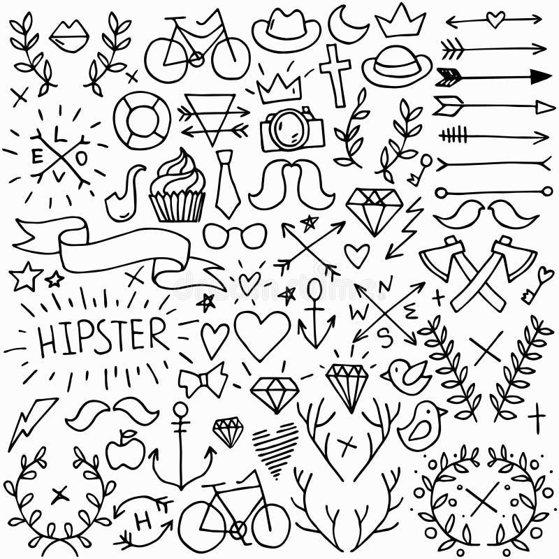 Grand ensemble de hippie illustration de vecteur