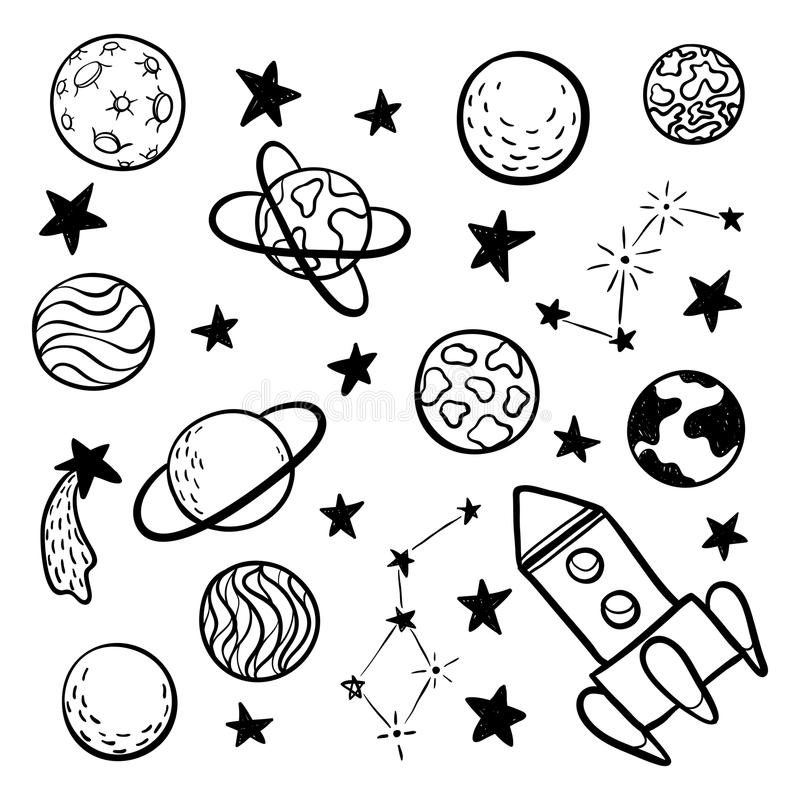 Grand ensemble de l'espace tiré par la main d'éléments de l'espace de griffonnage, fusée, étoile, planète, noir et blanc de sonde illustration stock