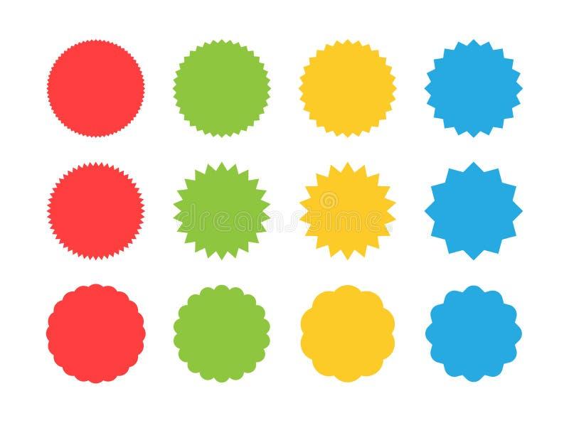 Grand ensemble de label d'autocollant de vente de starburst Autocollant de remise de prix à payer de rayon de soleil, achats, ven illustration libre de droits