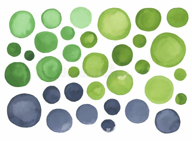 Grand ensemble de label vert gris d'aquarelle illustration stock