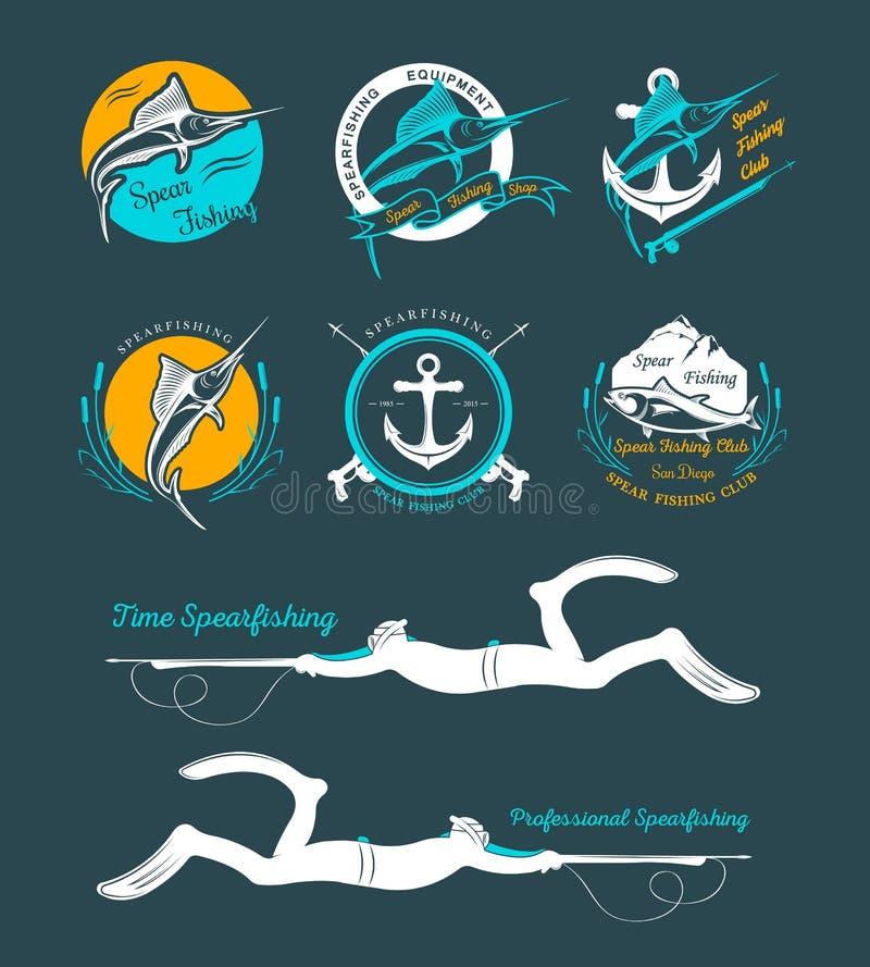 Grand ensemble de logos, d'insignes et d'icônes Spearfishing illustration de vecteur