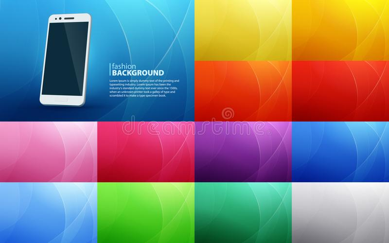 Grand ensemble de milieux horizontaux abstraits des lignes incurvées Smartphone blanc d'isolement avec une ombre réaliste Lignes  illustration stock