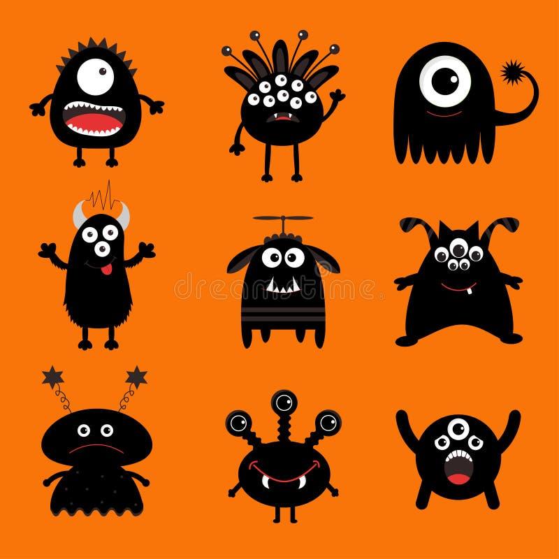 Grand ensemble de monstre noir Caractère effrayant de silhouette de bande dessinée mignonne Collection de bébé Fond orange D'isol illustration libre de droits