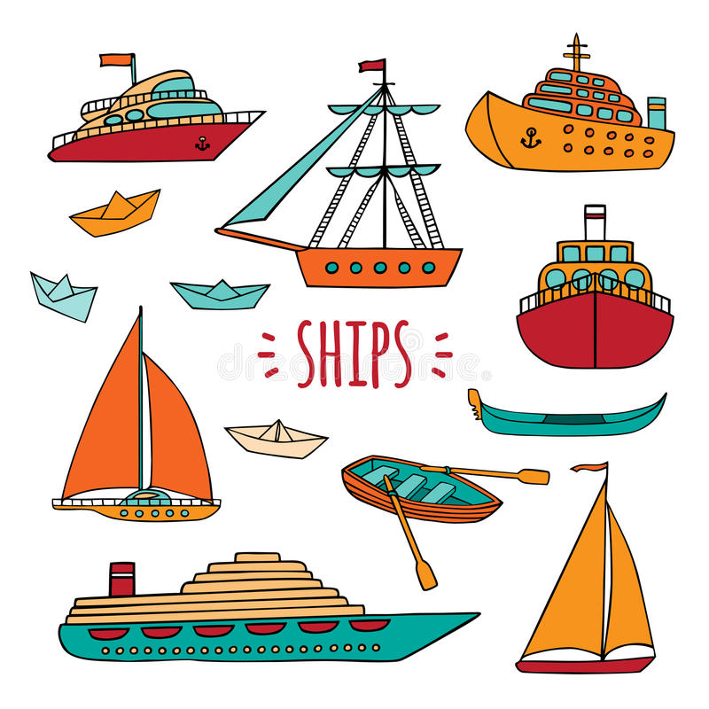 Grand ensemble de navires marins illustration stock