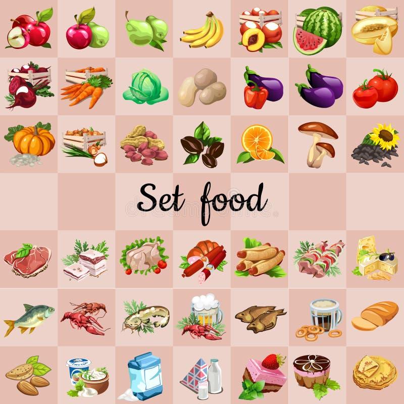 Grand ensemble de nourritures et d'ingrédients illustration stock