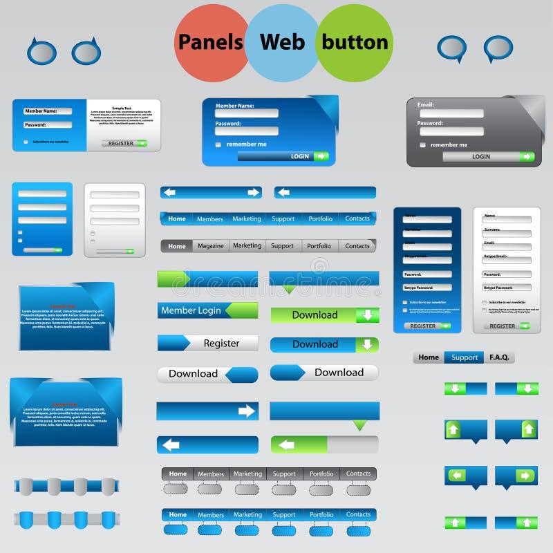 Grand ensemble de panneaux de Web, boutons pour vos idées. illustration stock