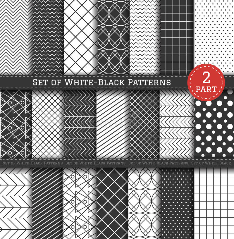 Grand ensemble de Pattern2 blanc noir illustration stock