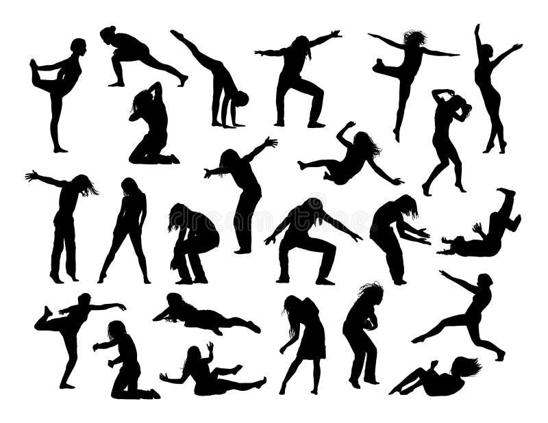 Grand ensemble de personnes en silhouettes 1 d'action illustration de vecteur