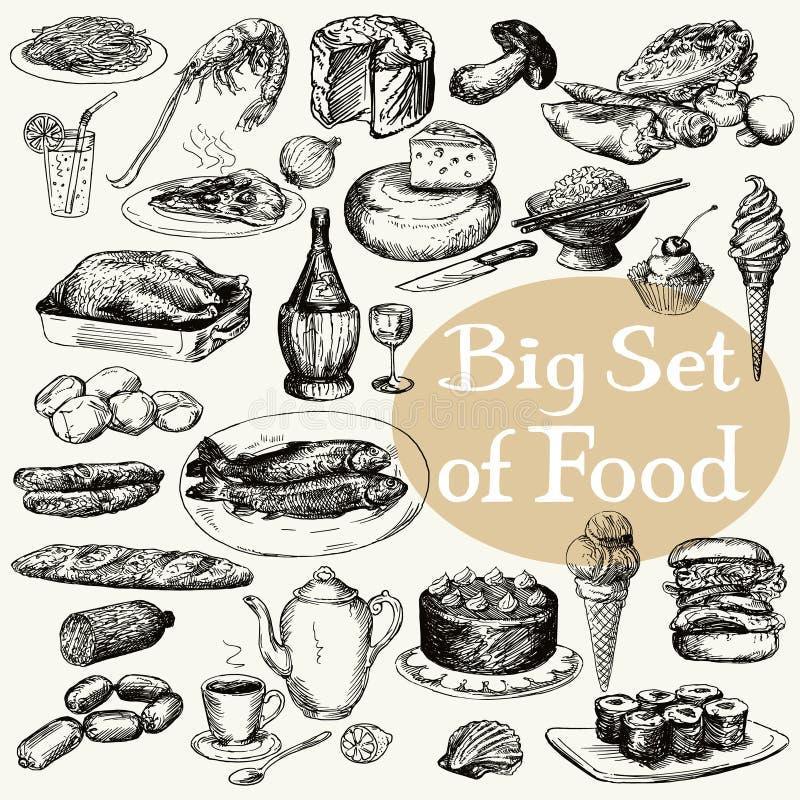 Grand ensemble de produit alimentaire illustration de vecteur
