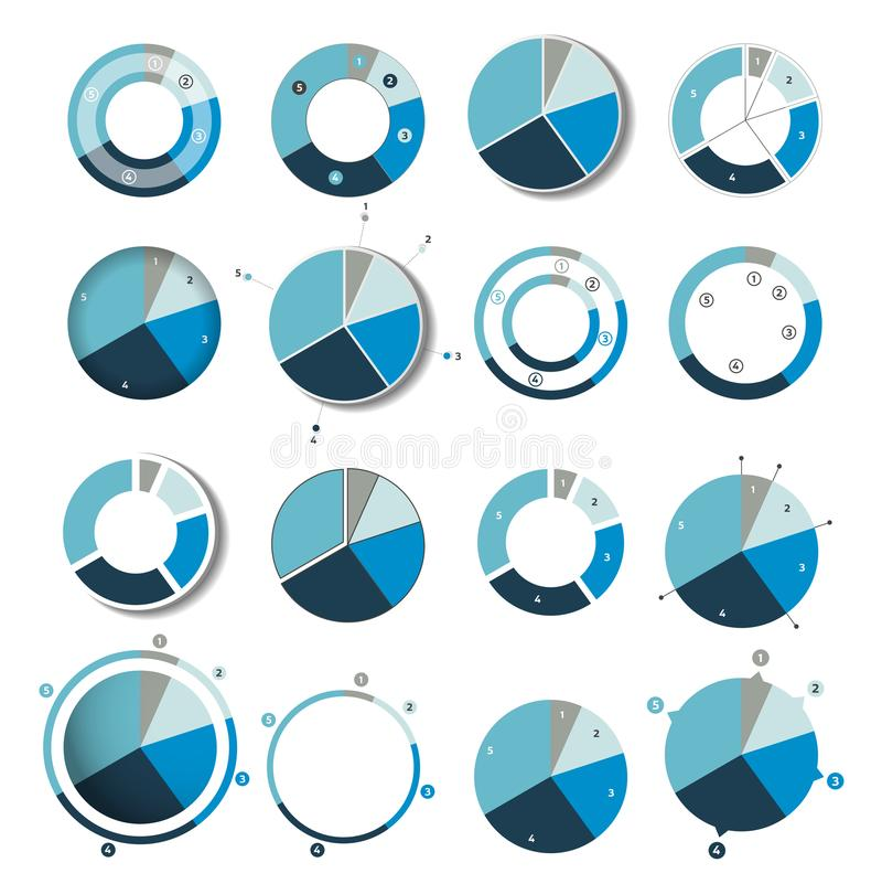 Grand ensemble de rond, diagramme de cercle, graphique Simplement couleur editable illustration stock