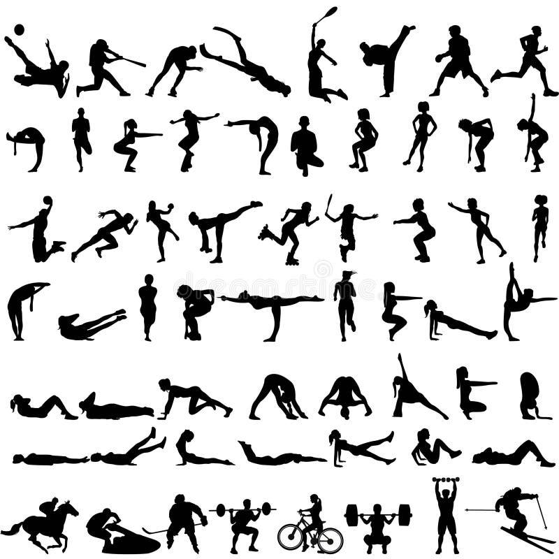 Grand ensemble de silhouettes de sport des hommes et des femmes illustration stock