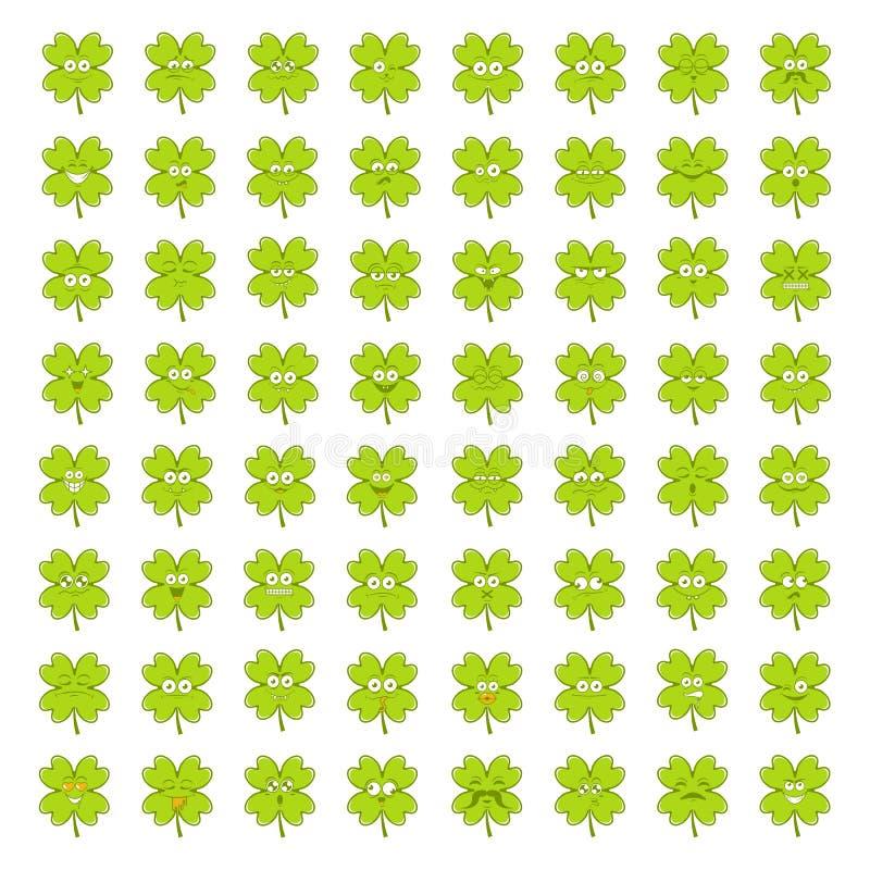 Grand ensemble de trèfle irlandais chanceux vert d'émotions souriantes heureuses mignonnes pour des stPatricks jour, illustration photo stock