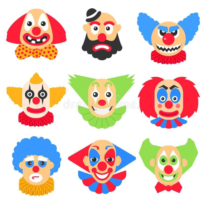 Grand ensemble de vecteur avec la bande dessinée différente de clowns photo libre de droits
