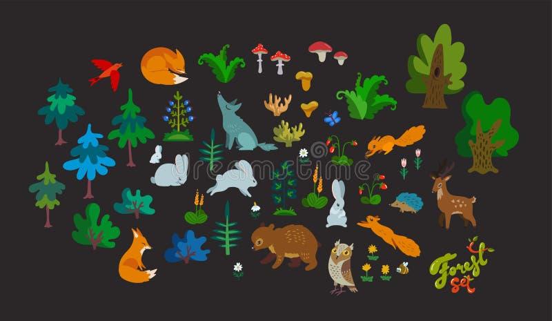 Grand ensemble de vecteur d'éléments de forêt d'isolement sur le fond foncé Caractères, arbres et herbes animaux mignons de coule illustration libre de droits