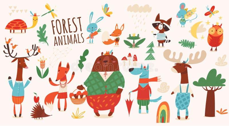 Grand ensemble de vecteur d'animaux de forêt de bande dessinée illustration stock