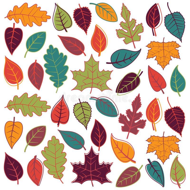 Grand ensemble de vecteur d'Autumn Leaves abstrait illustration stock