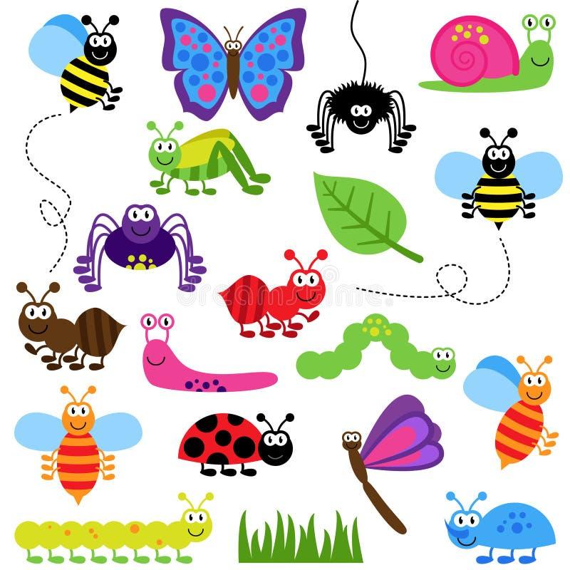 Grand ensemble de vecteur d'insectes mignons de bande dessinée illustration libre de droits