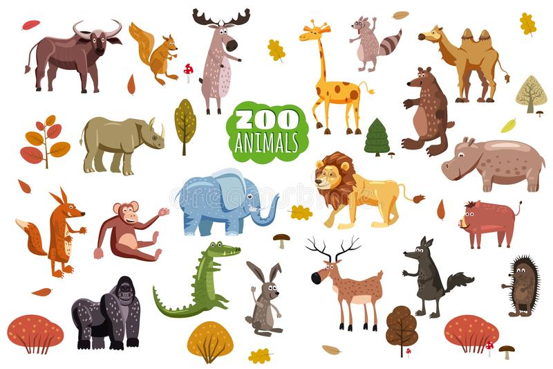 Grand ensemble de vecteurs de bande dessinée d'animaux sauvages Prédateurs africains, australiens, asiatiques, du sud et nord-amé illustration libre de droits