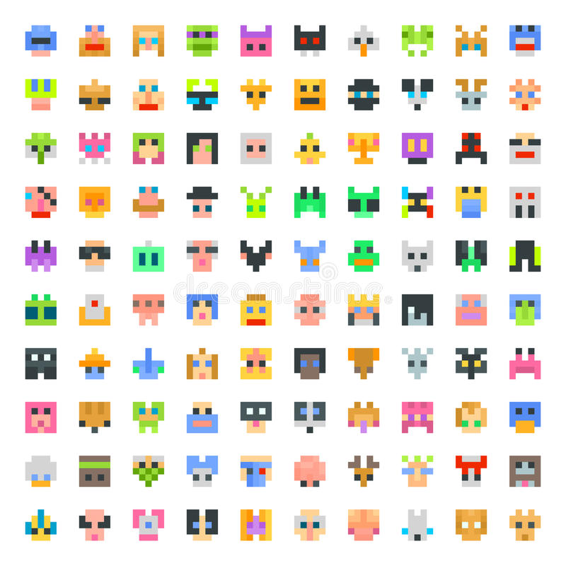 Grand ensemble de visages de pixel illustration de vecteur
