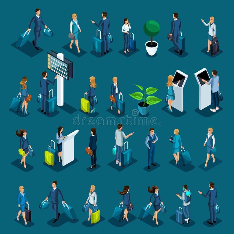 Grand ensemble isométrique avec des passagers pour des illustrations, un aéroport international, des dames d'affaires et des homm illustration libre de droits