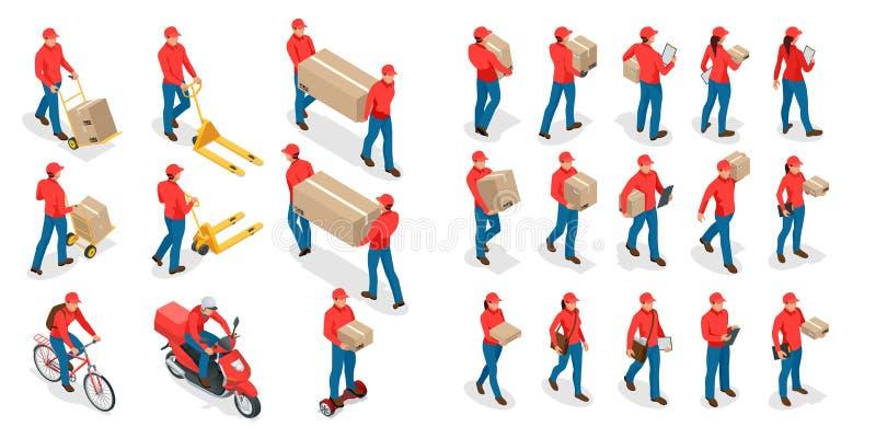 Grand ensemble isométrique de livreur et de femme dans l'uniforme tenant des boîtes et documents dans différentes poses ramassage illustration libre de droits