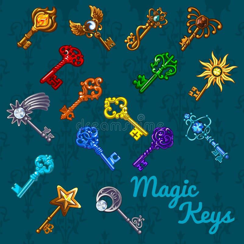 Grand ensemble magique coloré de clés illustration libre de droits